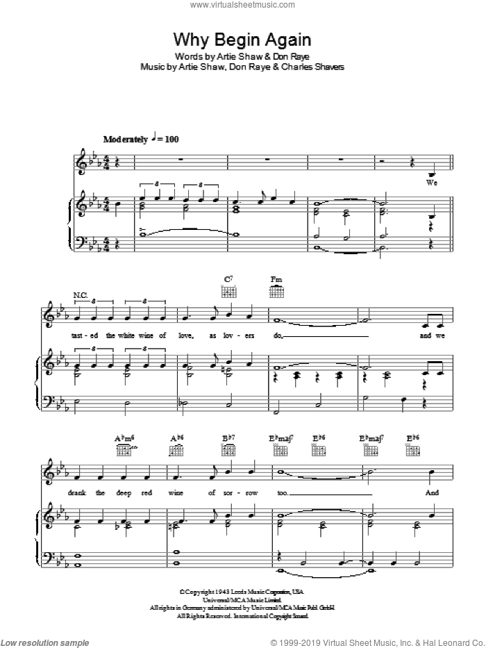 Why Begin Again sheet music for voice, piano or guitar by Artie Shaw, Charles Shavers and Don Raye, intermediate skill level