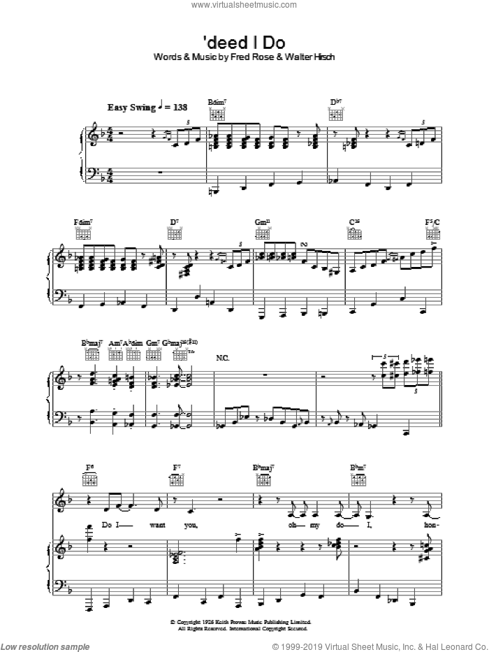 'Deed I Do sheet music for voice, piano or guitar by Fred Rose, Diana Krall and Walter Hirsch. Score Image Preview.