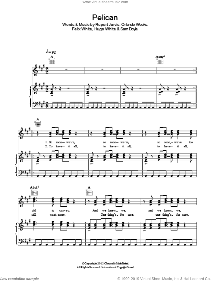 Pelican sheet music for voice, piano or guitar by The Maccabees. Score Image Preview.