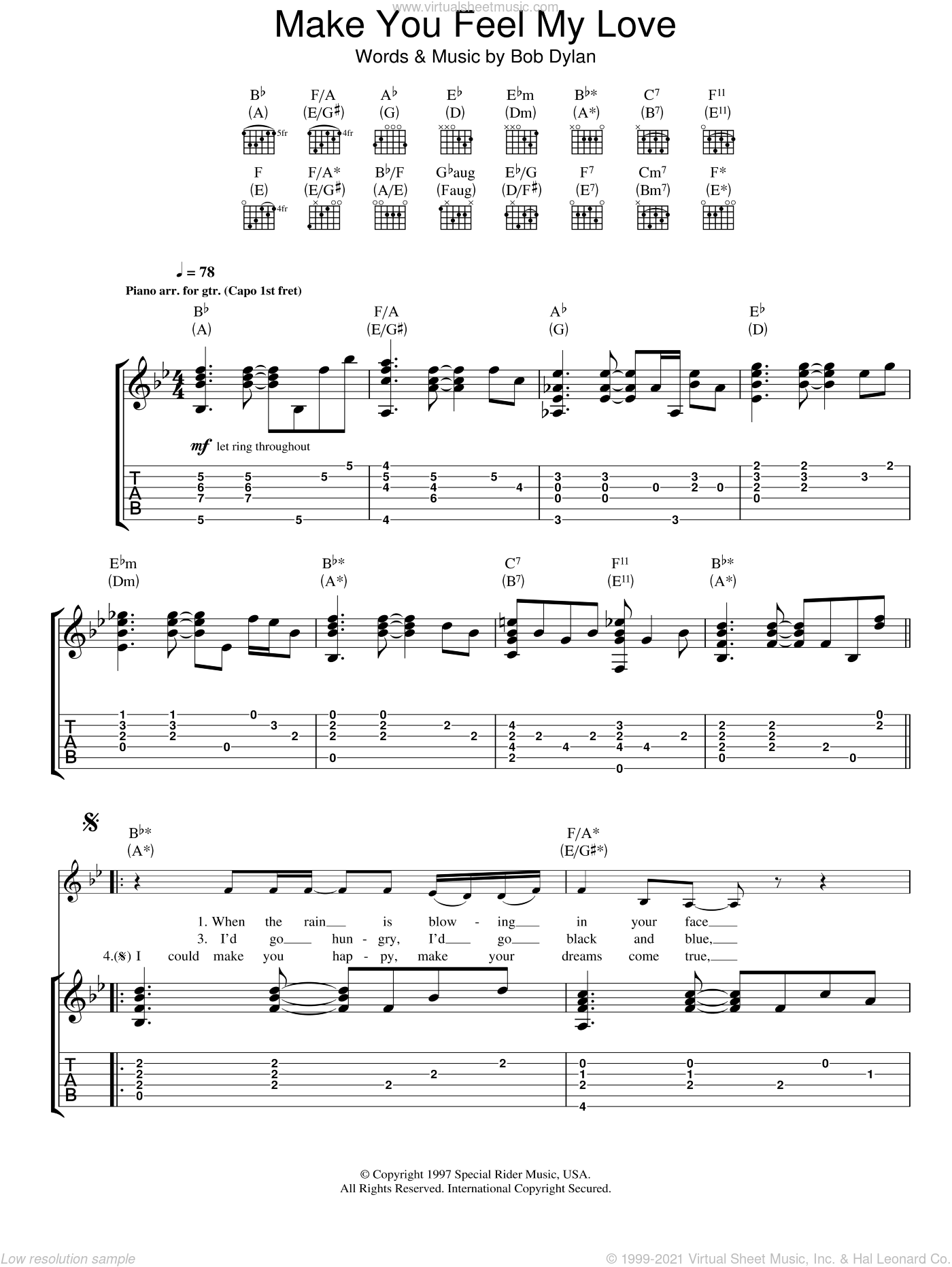Make You Feel My Love sheet music for guitar (tablature) by Adele and Bob Dylan, intermediate guitar (tablature). Score Image Preview.