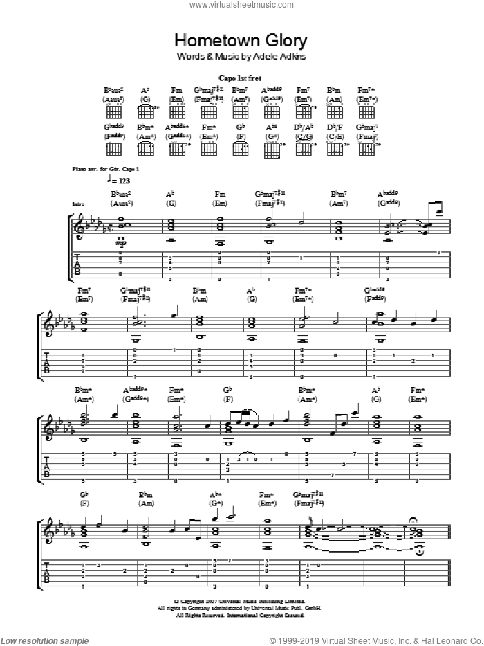 Hometown Glory sheet music for guitar (tablature) by Adele Adkins and Adele. Score Image Preview.