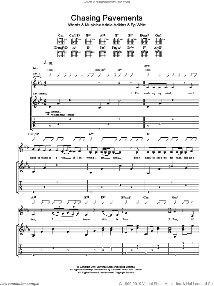 Chasing Pavements sheet music for guitar (tablature) by Eg White