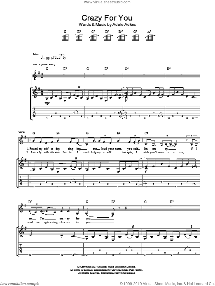 Crazy For You sheet music for guitar (tablature) by Adele and Adele Adkins, intermediate skill level