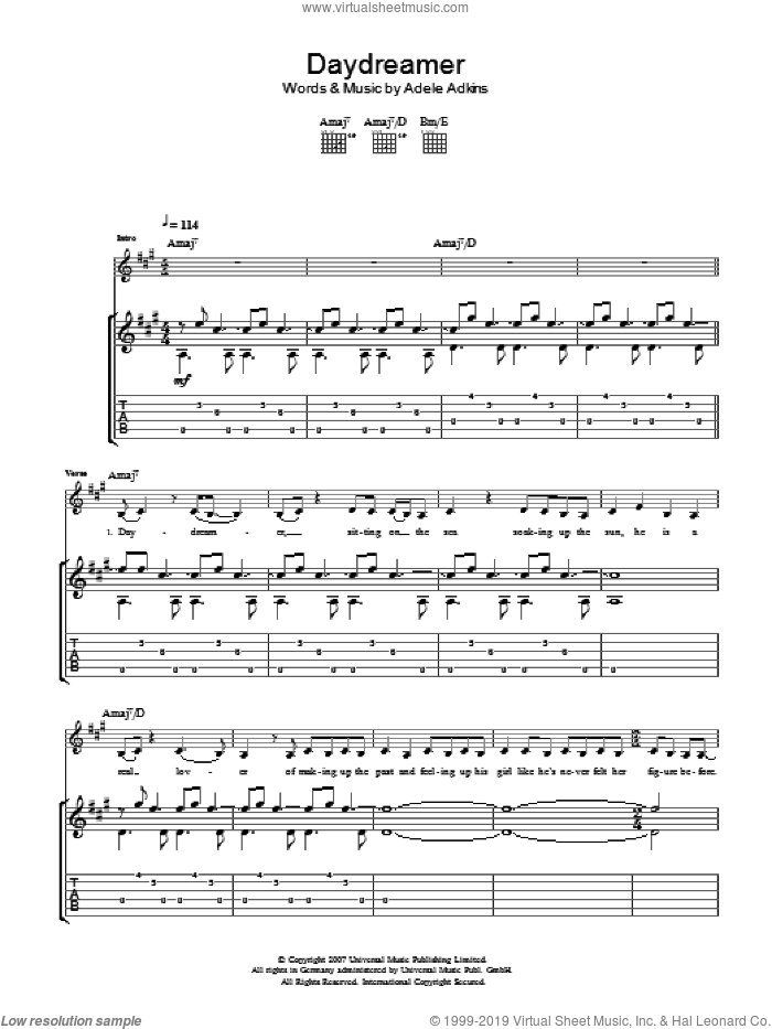 Daydreamer sheet music for guitar (tablature) by Adele. Score Image Preview.