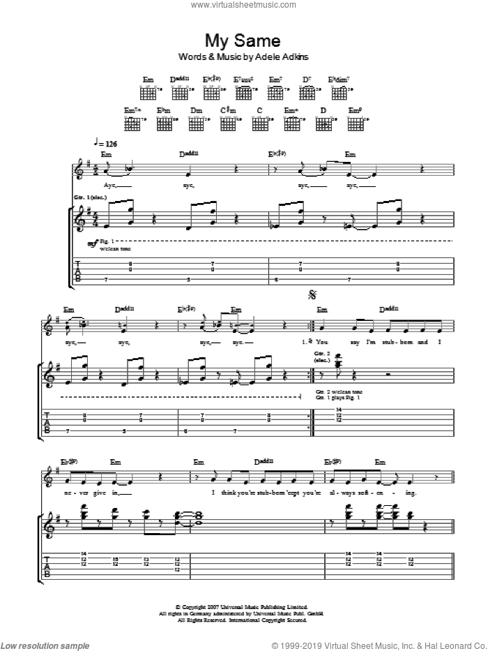 My Same sheet music for guitar (tablature) by Adele Adkins and Adele. Score Image Preview.
