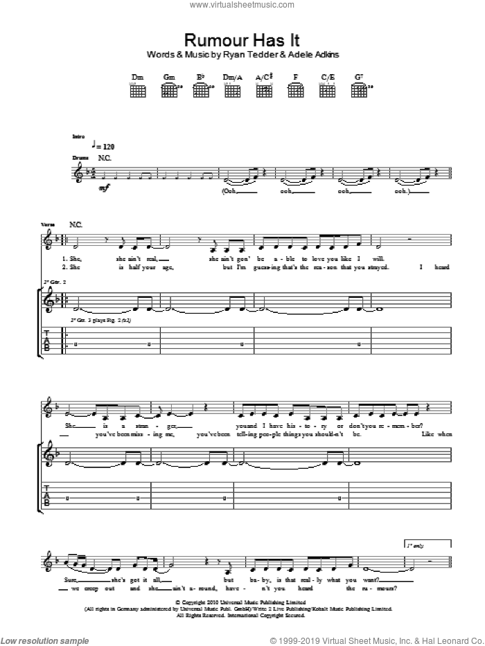 Rumour Has It sheet music for guitar (tablature) by Adele and Ryan Tedder, intermediate guitar (tablature). Score Image Preview.