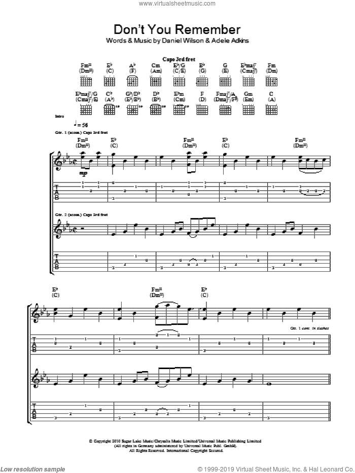 Don't You Remember sheet music for guitar (tablature) by Dan Wilson, Adele and Adele Adkins. Score Image Preview.