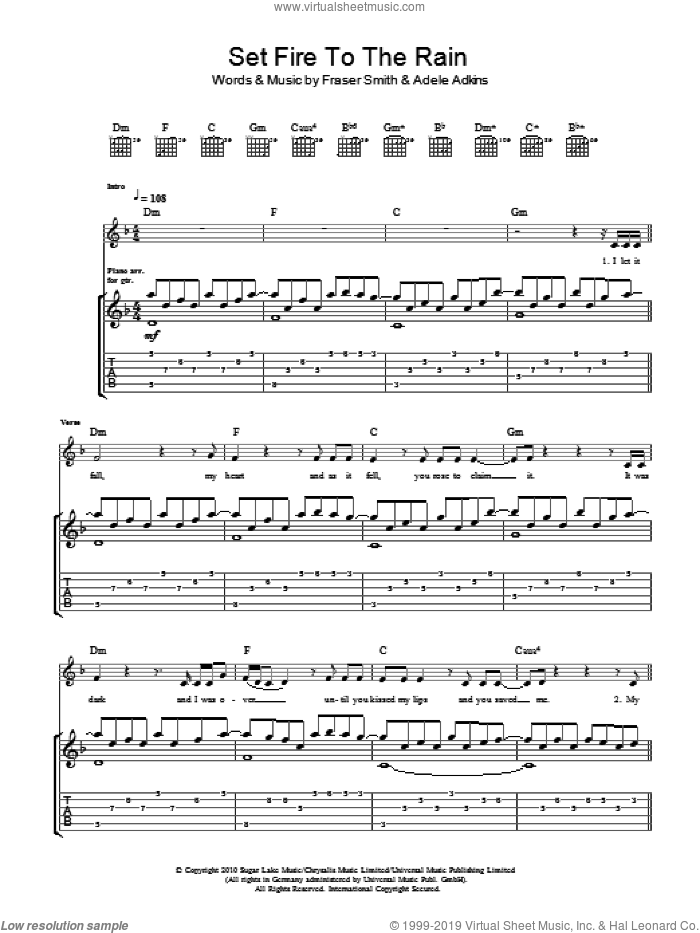 Set Fire To The Rain sheet music for guitar (tablature) by Adele. Score Image Preview.