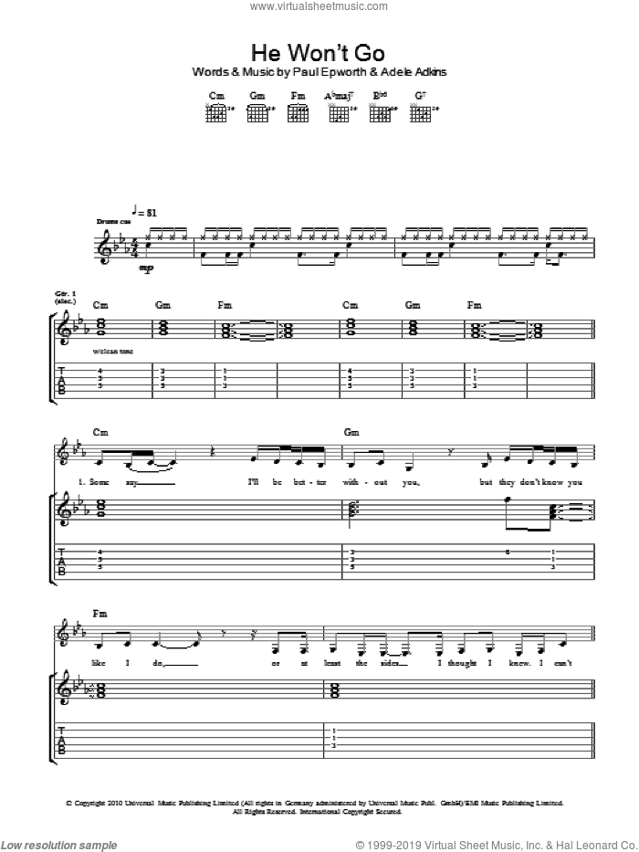He Won't Go sheet music for guitar (tablature) by Adele and Paul Epworth. Score Image Preview.