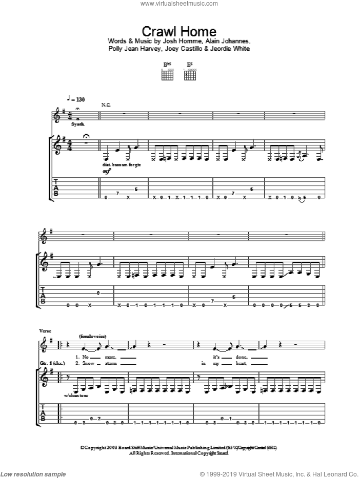 Crawl Home sheet music for guitar (tablature) by Desert Sessions, P J Harvey and Polly Jean Harvey, intermediate guitar (tablature). Score Image Preview.