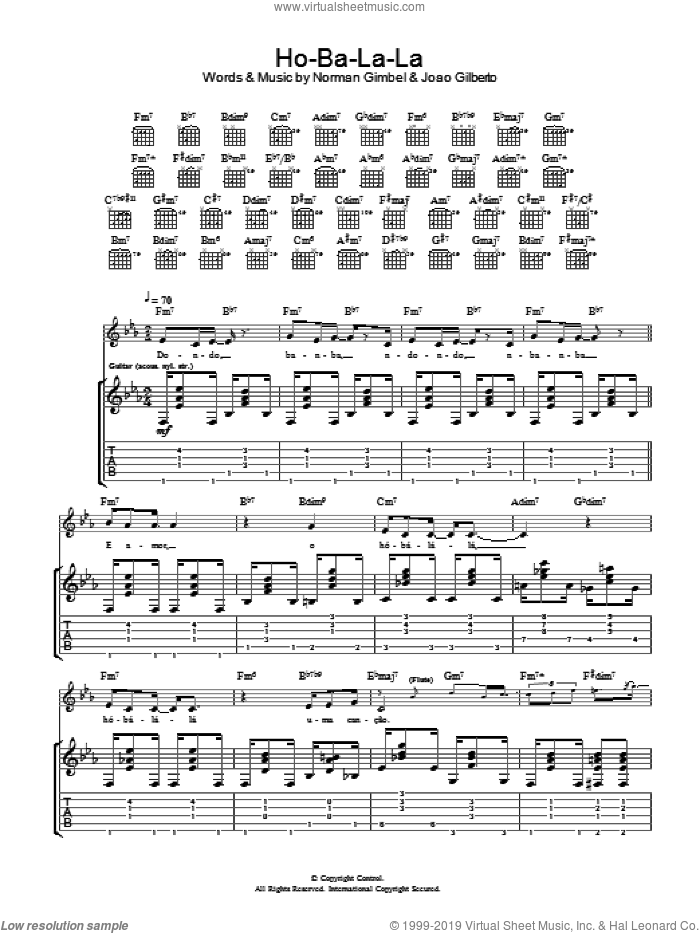 Ho-Ba-La-La sheet music for guitar (tablature) by Norman Gimbel