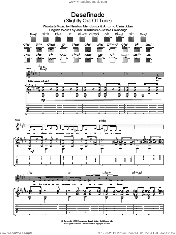 Desafinado (Slightly Out Of Tune) sheet music for guitar (tablature) by Newton Mendonca, Antonio Carlos Jobim and Jon Hendricks. Score Image Preview.