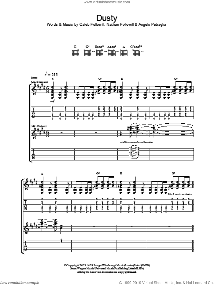 Dusty sheet music for guitar (tablature) by Kings Of Leon, Angelo Petraglia, Caleb Followill and Nathan Followill, intermediate. Score Image Preview.
