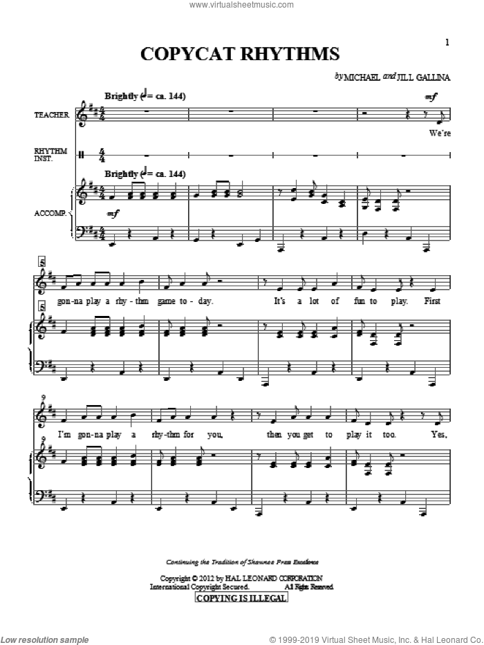 Copy Cat Rhythms sheet music for choir and piano by Jill Gallina