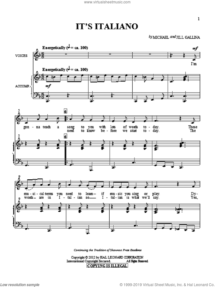 It's Italiano sheet music for choir and piano by Jill Gallina