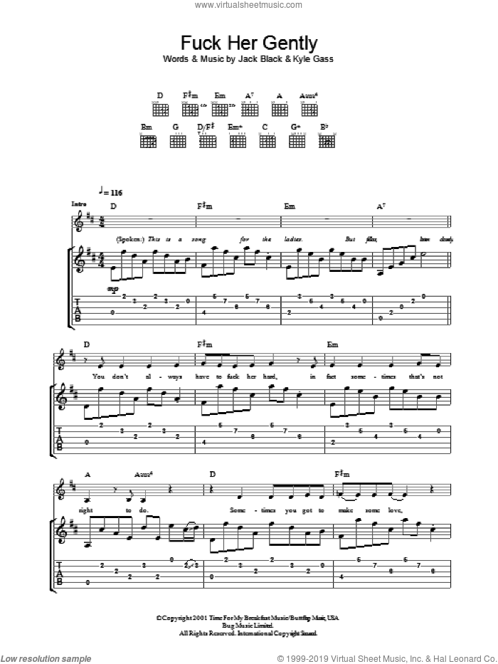 F*** Her Gently sheet music for guitar (tablature) by Tenacious D, Jack Black and Kyle Gass, intermediate skill level