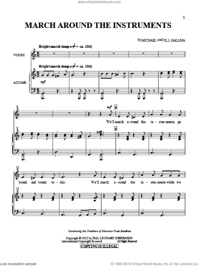 March Around The Instruments sheet music for choir by Jill Gallina and Michael Gallina, intermediate. Score Image Preview.