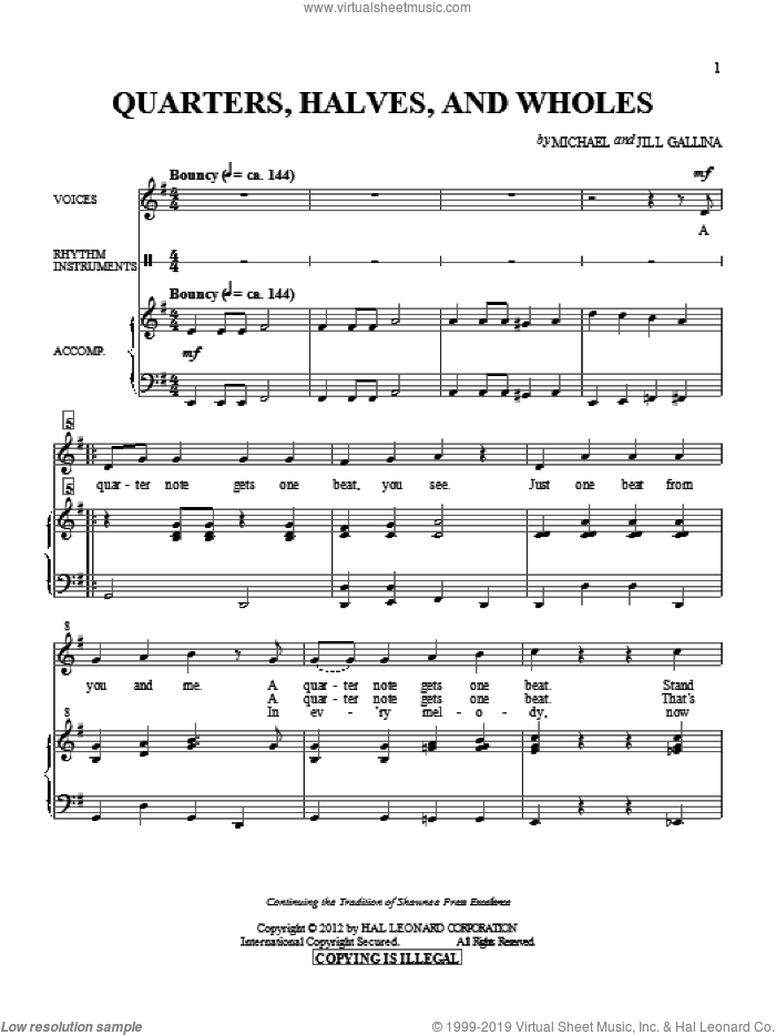 Quarters, Halves And Wholes sheet music for choir by Jill Gallina. Score Image Preview.