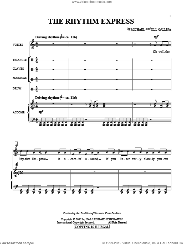 The Rhythm Express sheet music for choir and piano by Jill Gallina