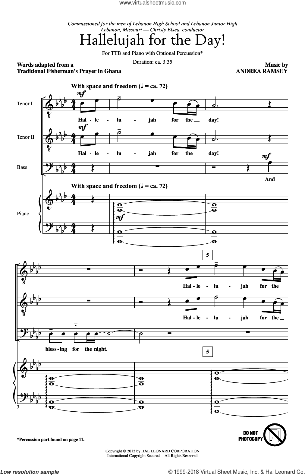 Hallelujah For The Day! sheet music for choir and piano (TTBB) by Andrea Ramsey