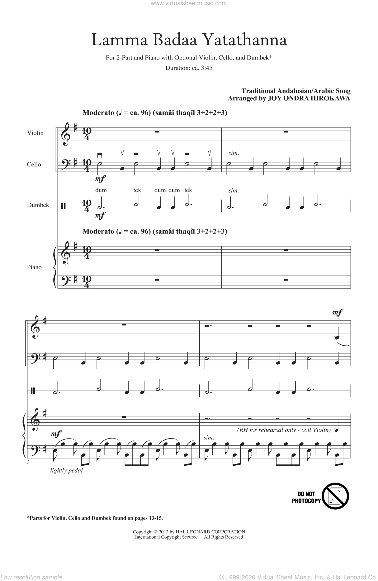 Lamma Badaa Yatathanna sheet music for choir (2-Part) by Joy Ondra Hirokawa, intermediate duet