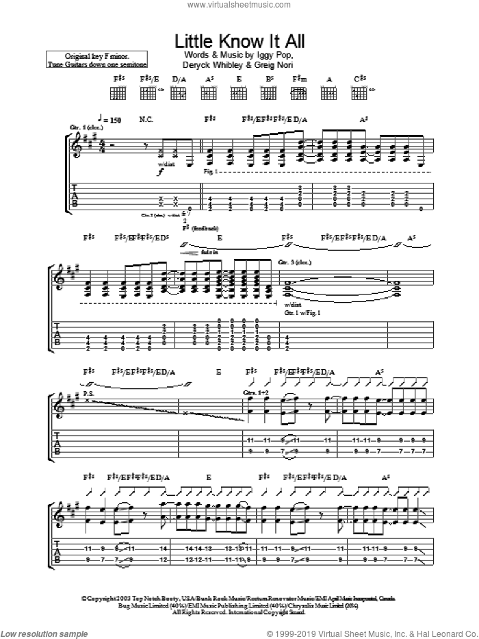 Little Know It All sheet music for guitar (tablature) by Iggy Pop & Sum 41, Sum 41, Deryck Whibley, Greig Nori and Iggy Pop, intermediate skill level