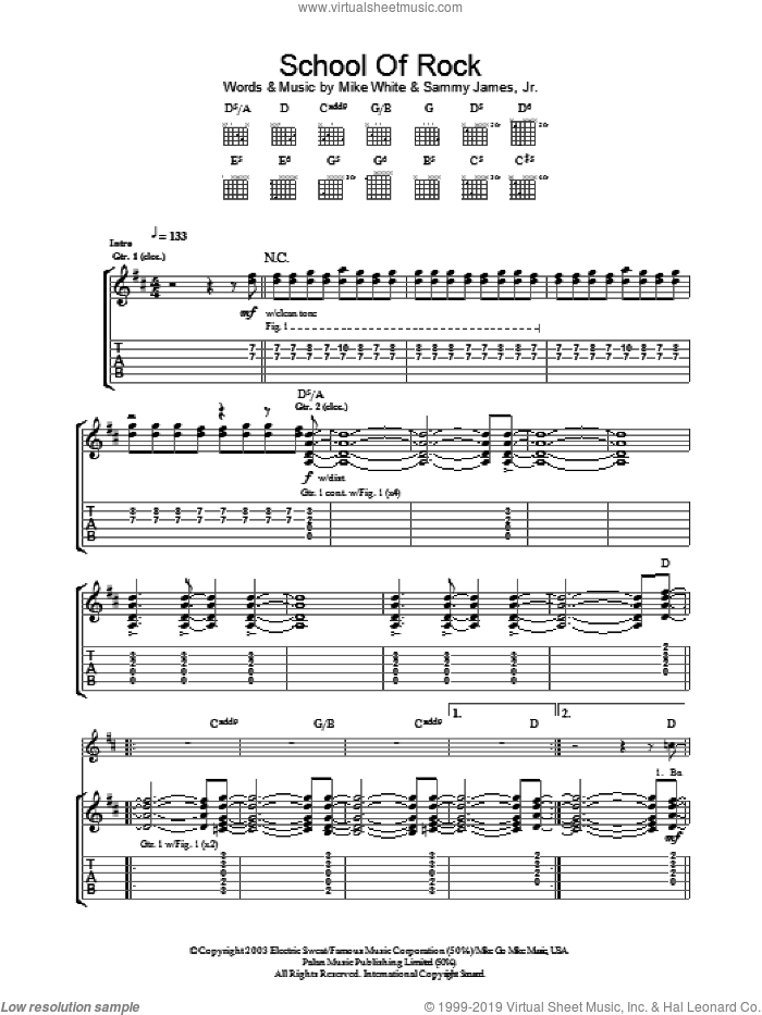 School Of Rock sheet music for guitar (tablature) by Sammy James Jr.