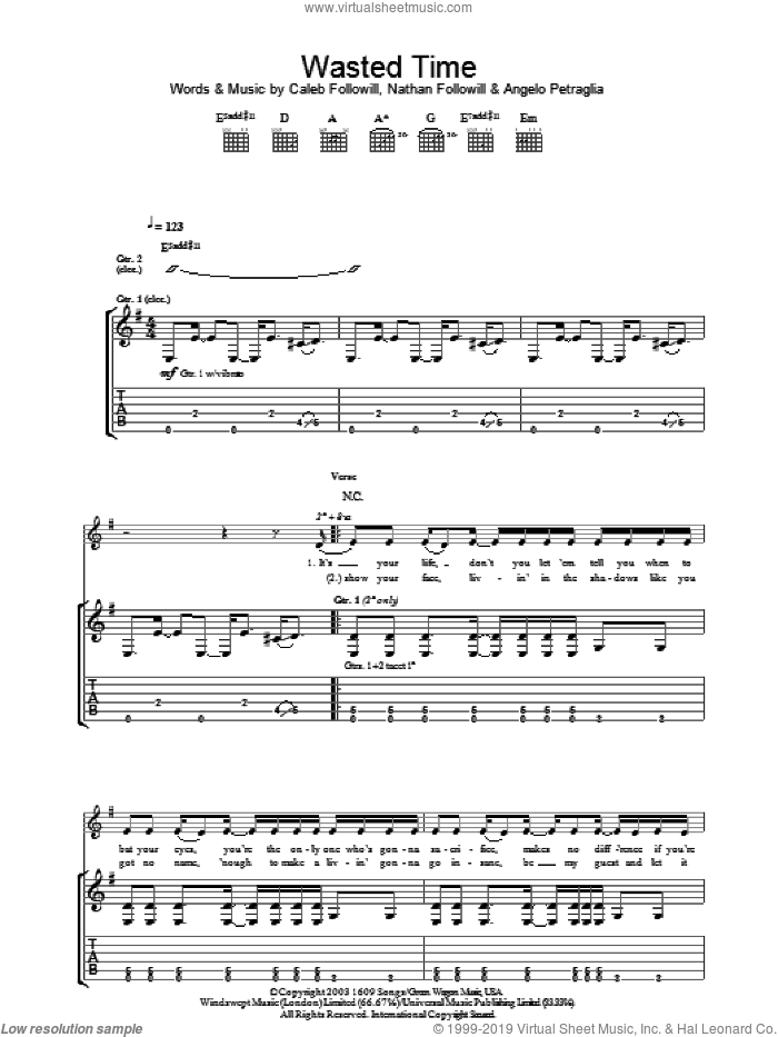 Wasted Time sheet music for guitar (tablature) by Nathan Followill, Kings Of Leon, Angelo Petraglia and Caleb Followill. Score Image Preview.