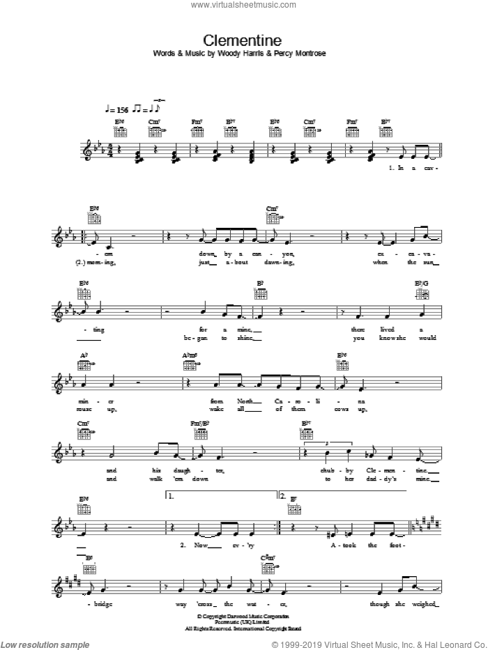 Clementine sheet music for voice and other instruments (fake book) by Bobby Darin, Percy Montrose and Woody Harris, intermediate. Score Image Preview.