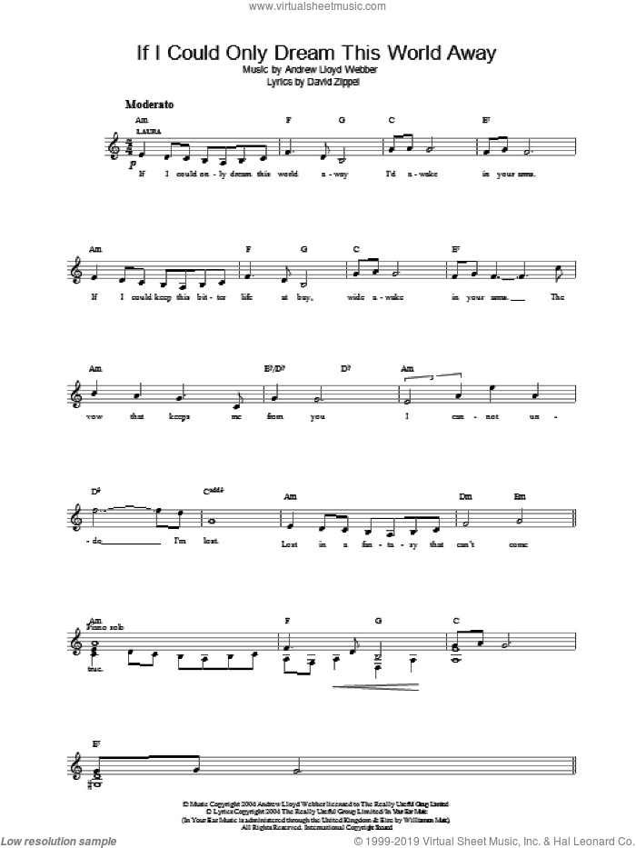 If I Could Only Dream This World Away (from The Woman In White) sheet music for voice and other instruments (fake book) by Andrew Lloyd Webber and David Zippel, intermediate skill level