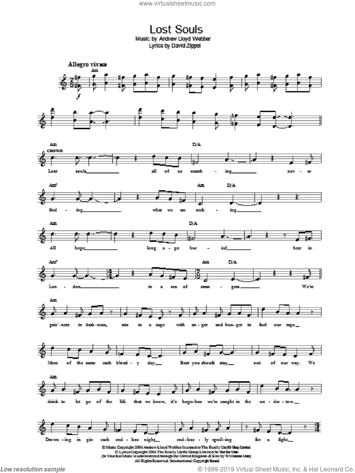 Lost Souls (from The Woman In White) sheet music for voice and other instruments (fake book) by Andrew Lloyd Webber and David Zippel, intermediate skill level
