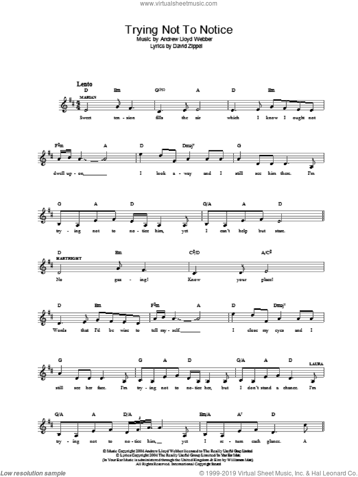 Trying Not To Notice (from The Woman In White) sheet music for voice and other instruments (fake book) by Andrew Lloyd Webber and David Zippel, intermediate skill level