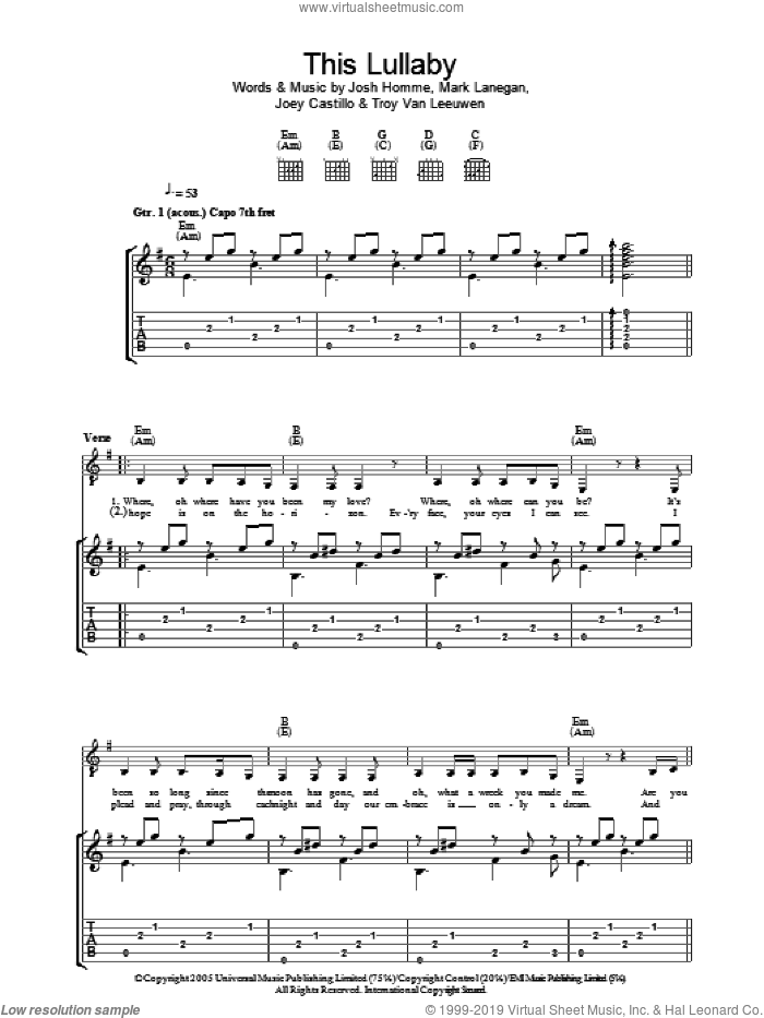 This Lullaby sheet music for guitar (tablature) by Troy Van Leeuwen, Queens Of The Stone Age, Joey Castillo and Josh Homme. Score Image Preview.