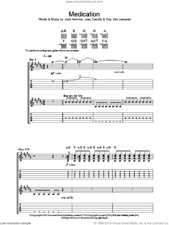 Medication sheet music for guitar (tablature) by Queens Of The Stone Age, intermediate guitar (tablature). Score Image Preview.