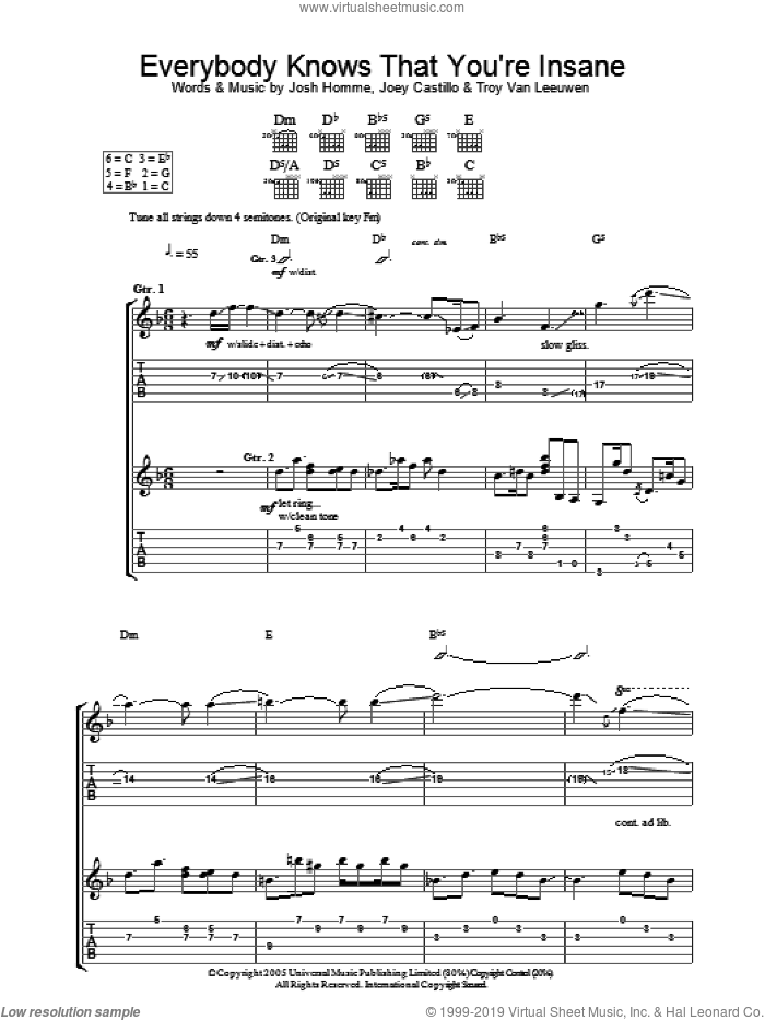 Everybody Knows That You Are Insane sheet music for guitar (tablature) by Troy Van Leeuwen, Queens Of The Stone Age, Joey Castillo and Josh Homme. Score Image Preview.