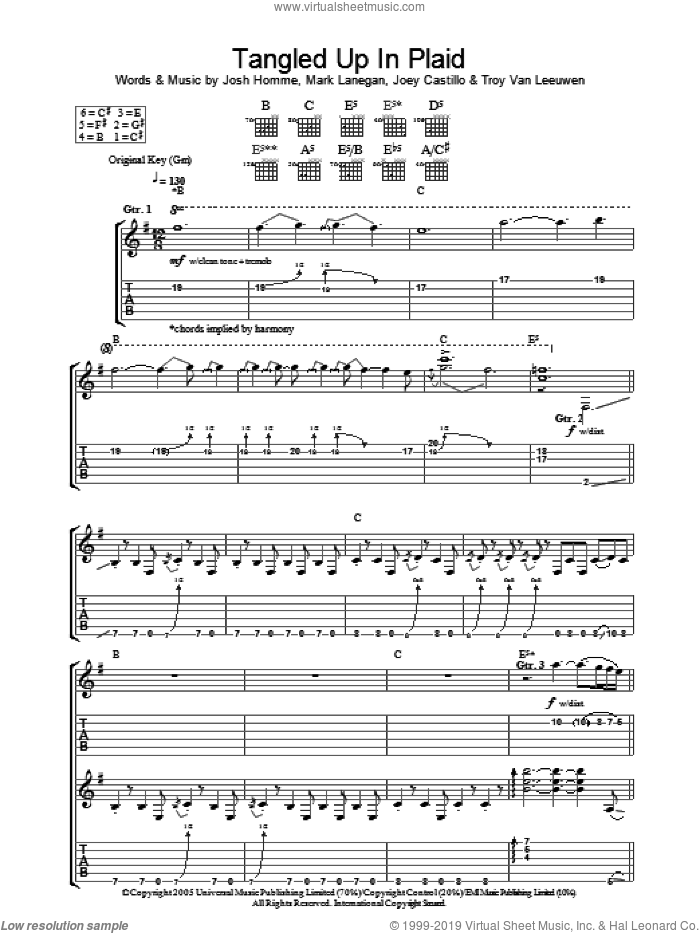Tangled Up In Plaid sheet music for guitar (tablature) by Troy Van Leeuwen, Queens Of The Stone Age, Joey Castillo and Josh Homme. Score Image Preview.