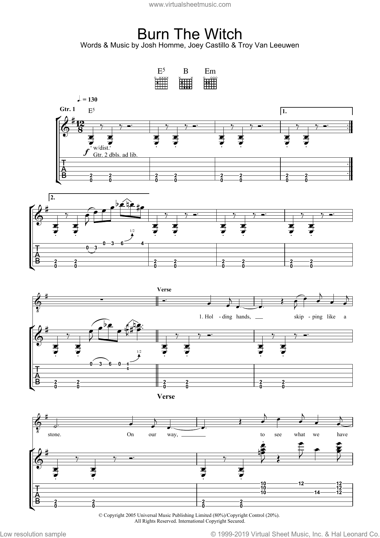 Burn The Witch sheet music for guitar (tablature) by Queens Of The Stone Age, intermediate. Score Image Preview.
