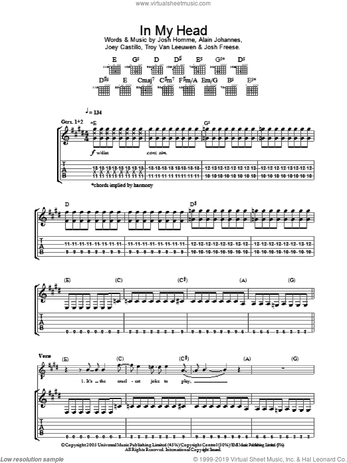 In My Head sheet music for guitar (tablature) by Troy Van Leeuwen, Queens Of The Stone Age, Alain Johannes, Joey Castillo and Josh Homme. Score Image Preview.