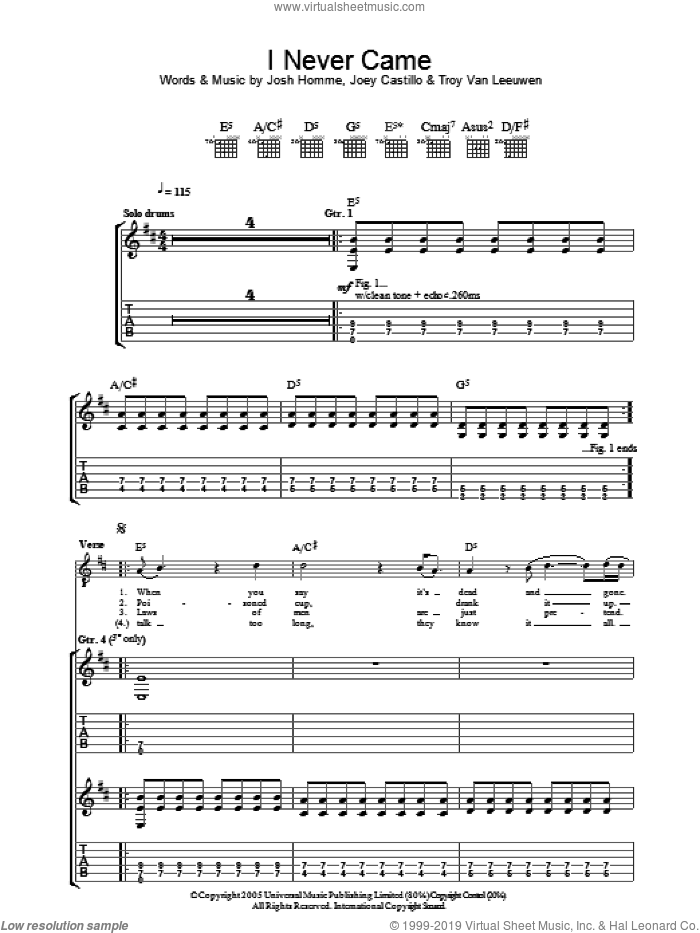 I Never Came sheet music for guitar (tablature) by Troy Van Leeuwen, Queens Of The Stone Age, Joey Castillo and Josh Homme. Score Image Preview.