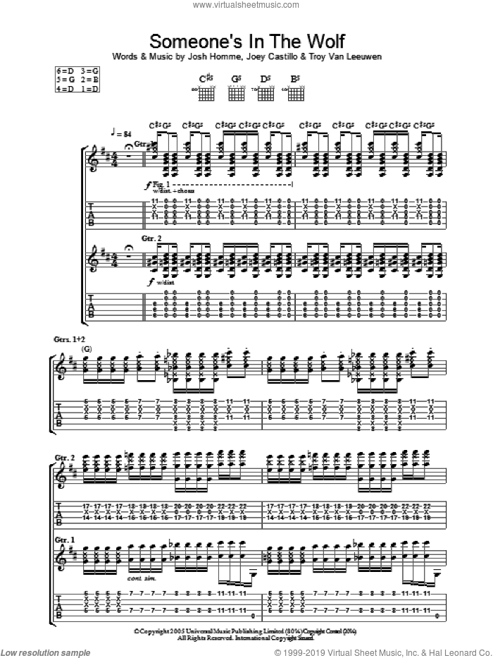 Someone's In The Wolf sheet music for guitar (tablature) by Queens Of The Stone Age, Joey Castillo, Josh Homme and Troy Van Leeuwen, intermediate