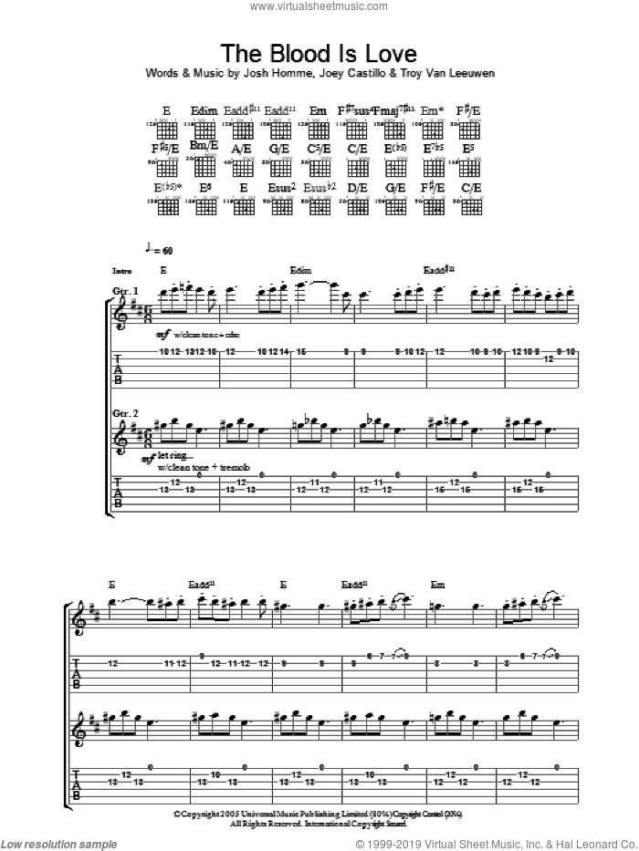 The Blood Is Love sheet music for guitar (tablature) by Queens Of The Stone Age, intermediate guitar (tablature). Score Image Preview.