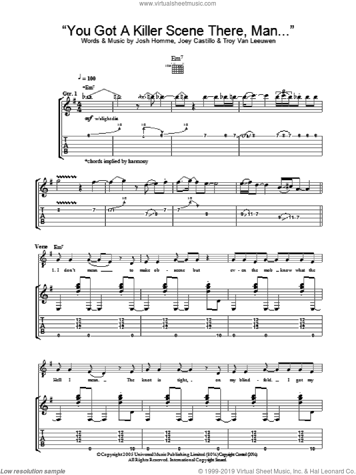 You Got A Killer Scene There, Man sheet music for guitar (tablature) by Queens Of The Stone Age, Joey Castillo, Josh Homme and Troy Van Leeuwen, intermediate skill level
