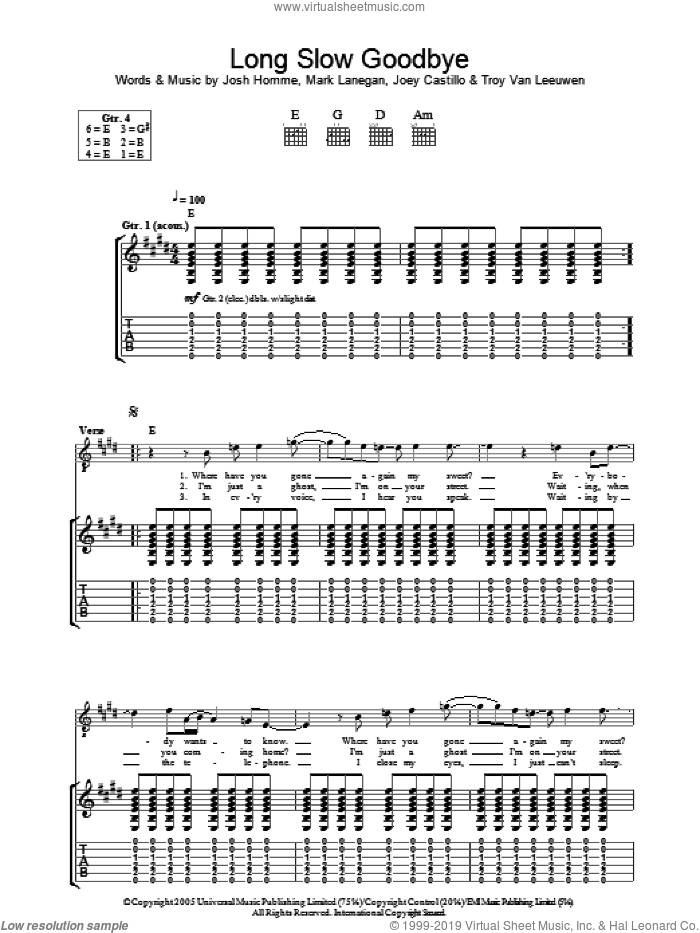 Long Slow Goodbye sheet music for guitar (tablature) by Queens Of The Stone Age. Score Image Preview.