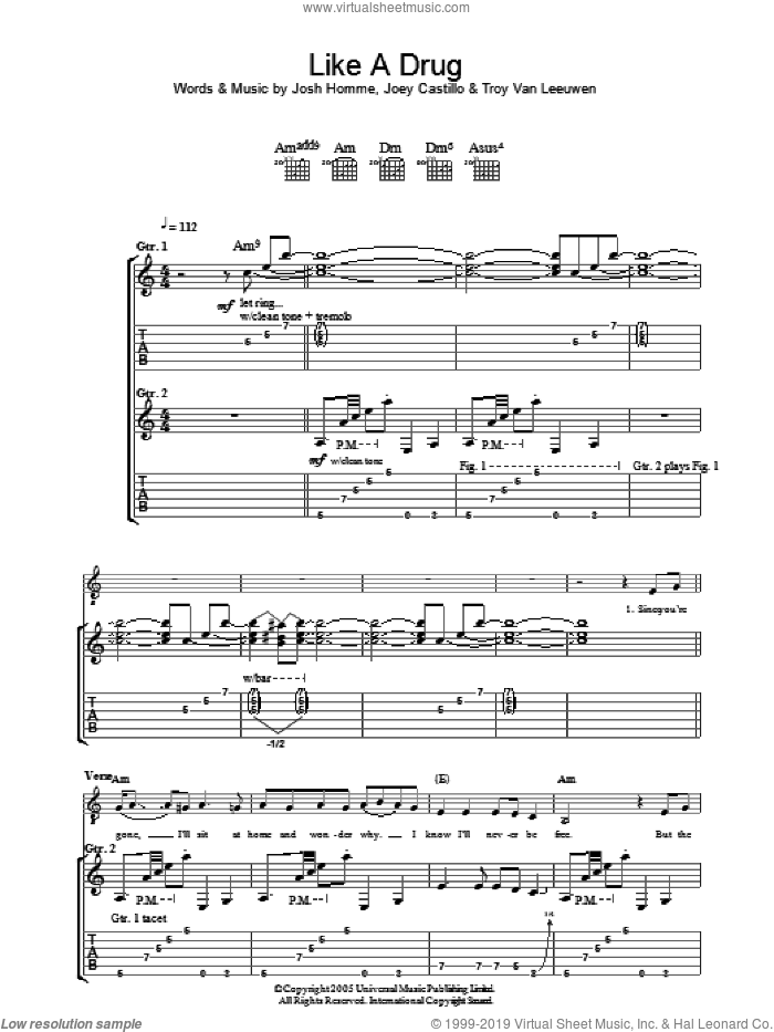 Like A Drug sheet music for guitar (tablature) by Troy Van Leeuwen, Queens Of The Stone Age, Joey Castillo and Josh Homme. Score Image Preview.
