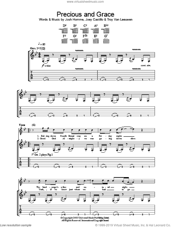 Precious And Grace sheet music for guitar (tablature) by Queens Of The Stone Age, Joey Castillo, Josh Homme and Troy Van Leeuwen, intermediate