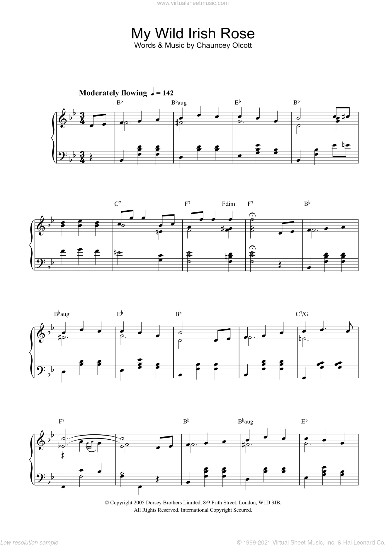 My Wild Irish Rose sheet music for piano solo. Score Image Preview.