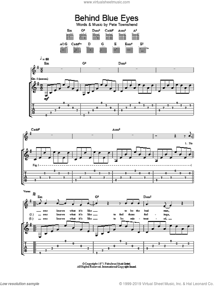 Behind Blue Eyes sheet music for guitar (tablature) by Pete Townshend and The Who. Score Image Preview.