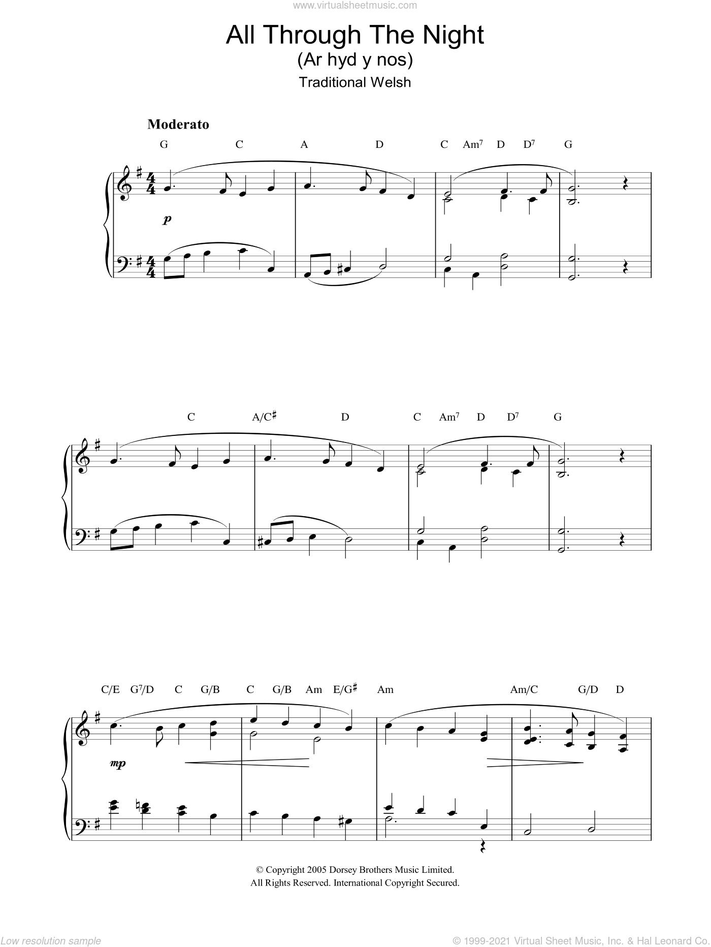 All Through The Night, (intermediate) sheet music for piano solo, intermediate skill level