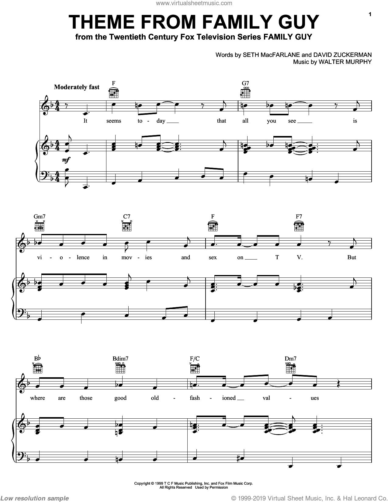 Theme From Family Guy sheet music for voice, piano or guitar by Seth MacFarlane and Walter Murphy, intermediate. Score Image Preview.