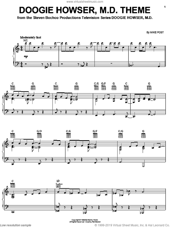 Doogie Howser, M.D. Theme sheet music for piano solo by Mike Post, intermediate skill level